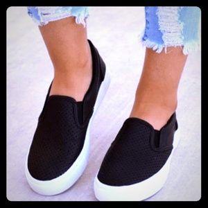 Shoes - Black Slip on Sneakers